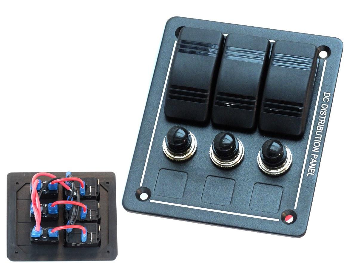 Panel przełączników ALU, ON-OFFx3, BA 1x5A 1x10A 1x15A IP68 - GRUBYGARAGE - Sklep Tuningowy